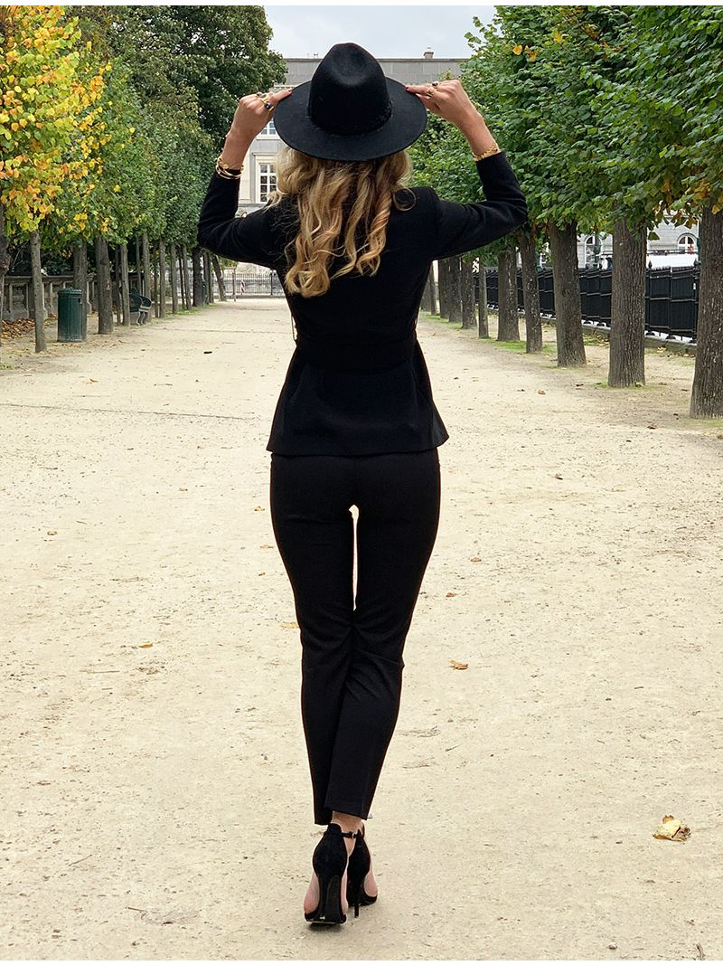 Veste de tailleur ceinturée - Noir