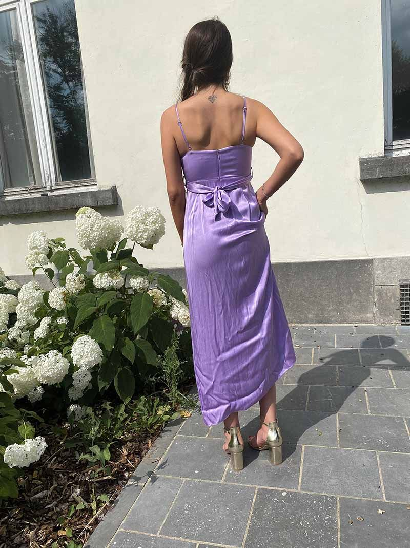 Robe de soirée fendue en soie - Violet