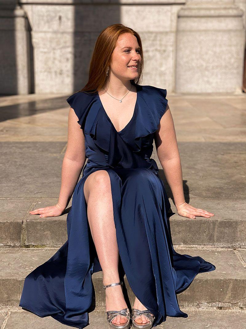 Robe longue cache cœur - Bleu Marine