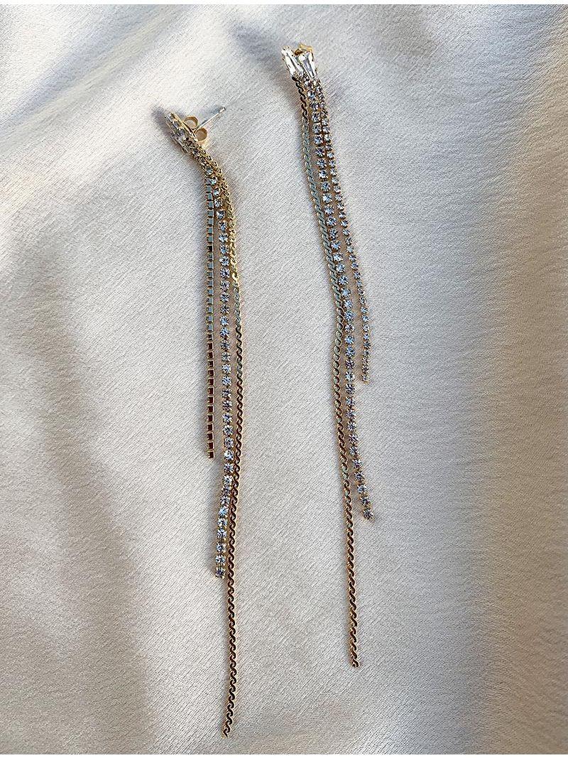 Longue boucles d'oreilles à strass - Doré