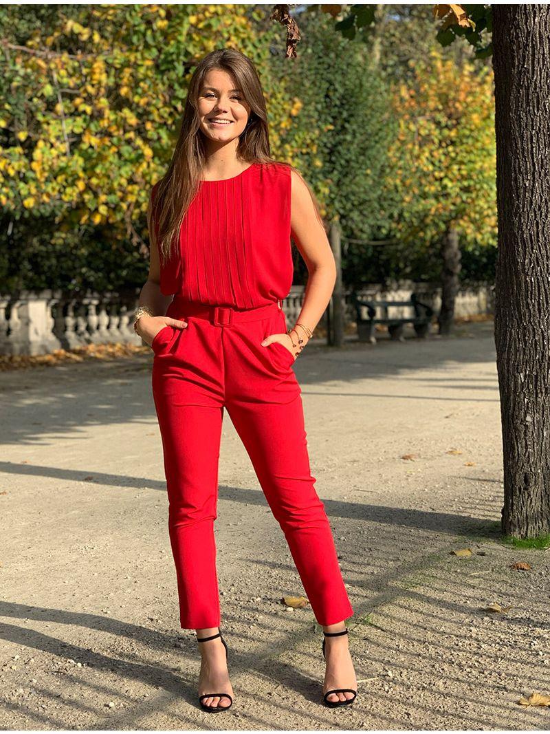 Combinaison ceinturée avec décolleté plissé - Rouge