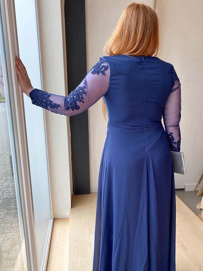 Robe longue avec manche transparente – Bleu Marine