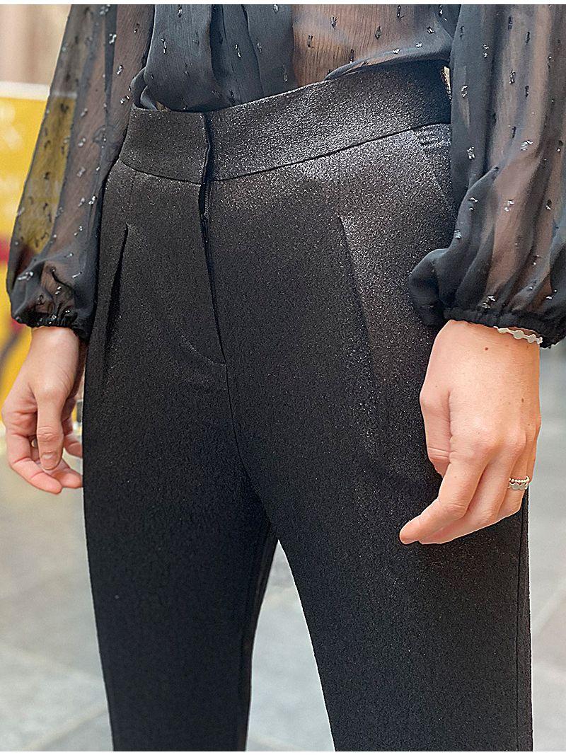 Pantalon à pinces pailleté - Noir