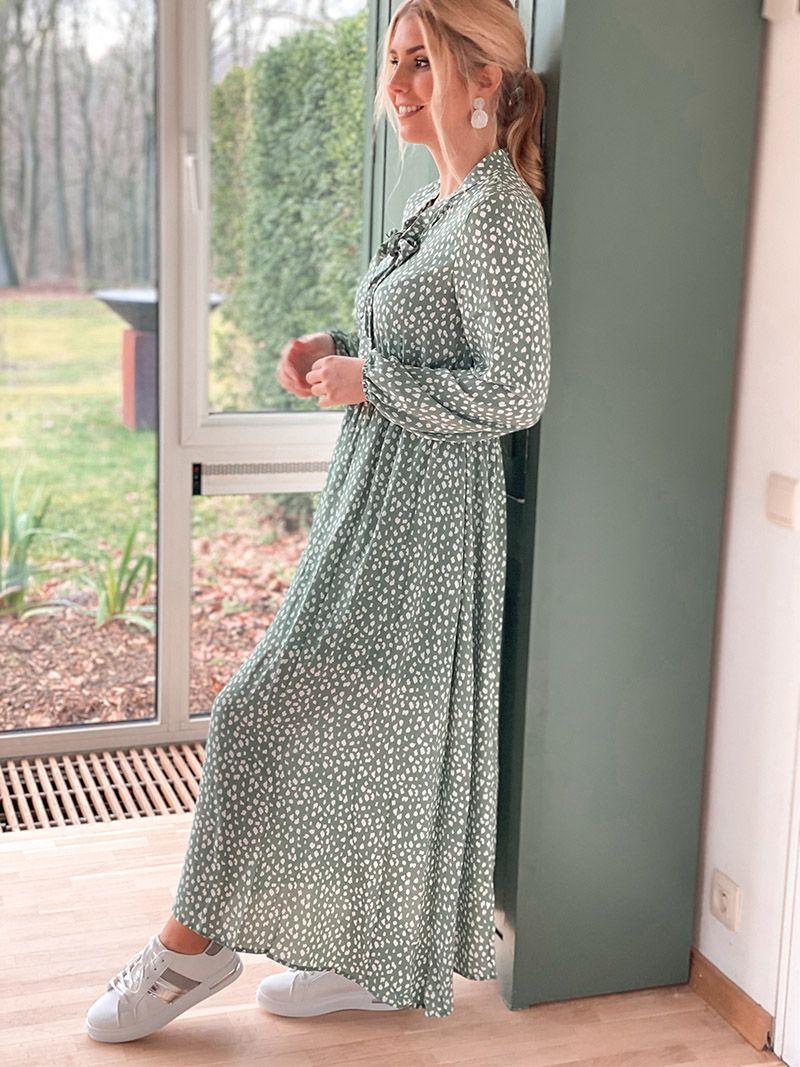 Robe longue fluide - Vert Sauge
