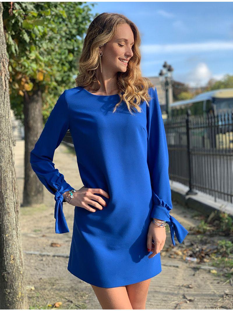 Robe Courte Manches Longues Bleu Roi Anne Sophie