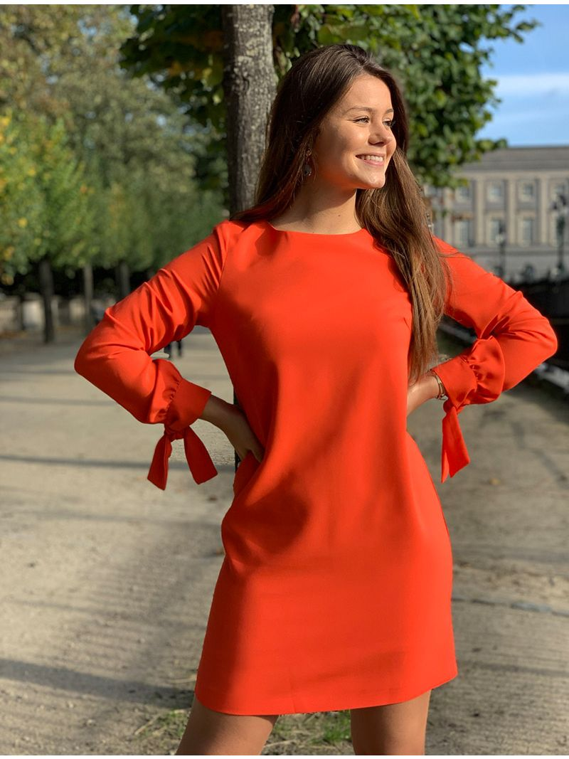 Robe courte manches longues - Orange