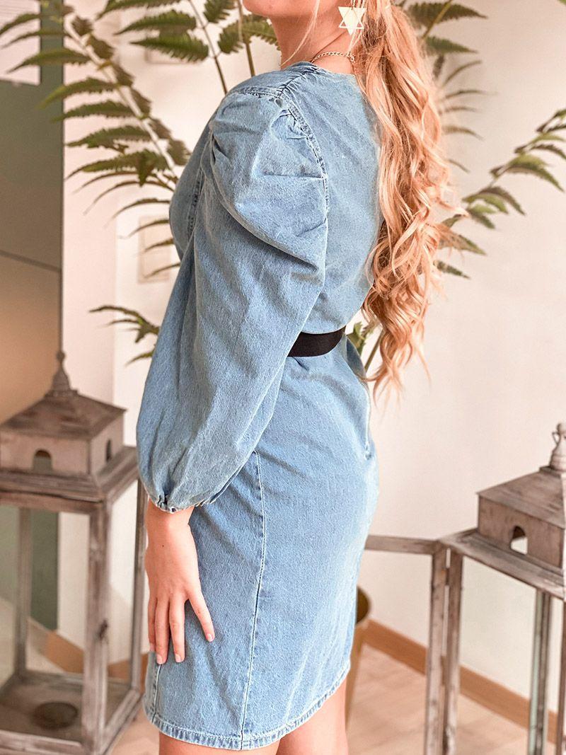 Robe en jeans manches bouffantes - Jeans