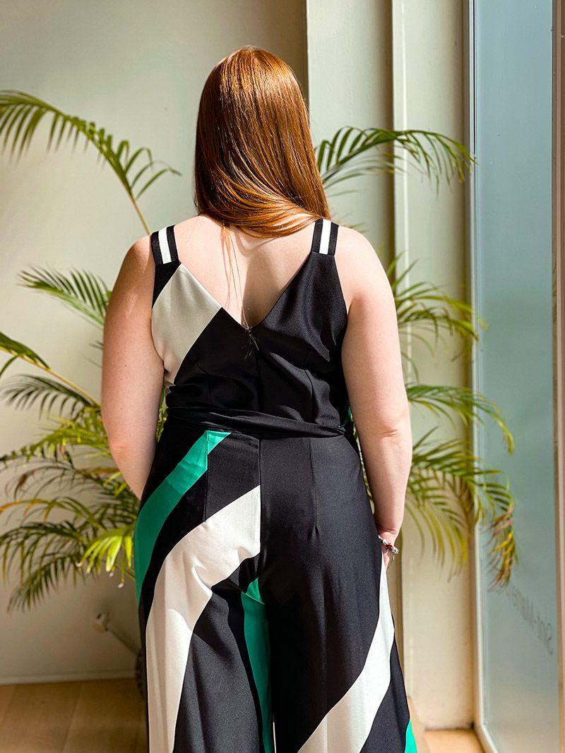 Combinaison évasée avec une ceinture - Vert