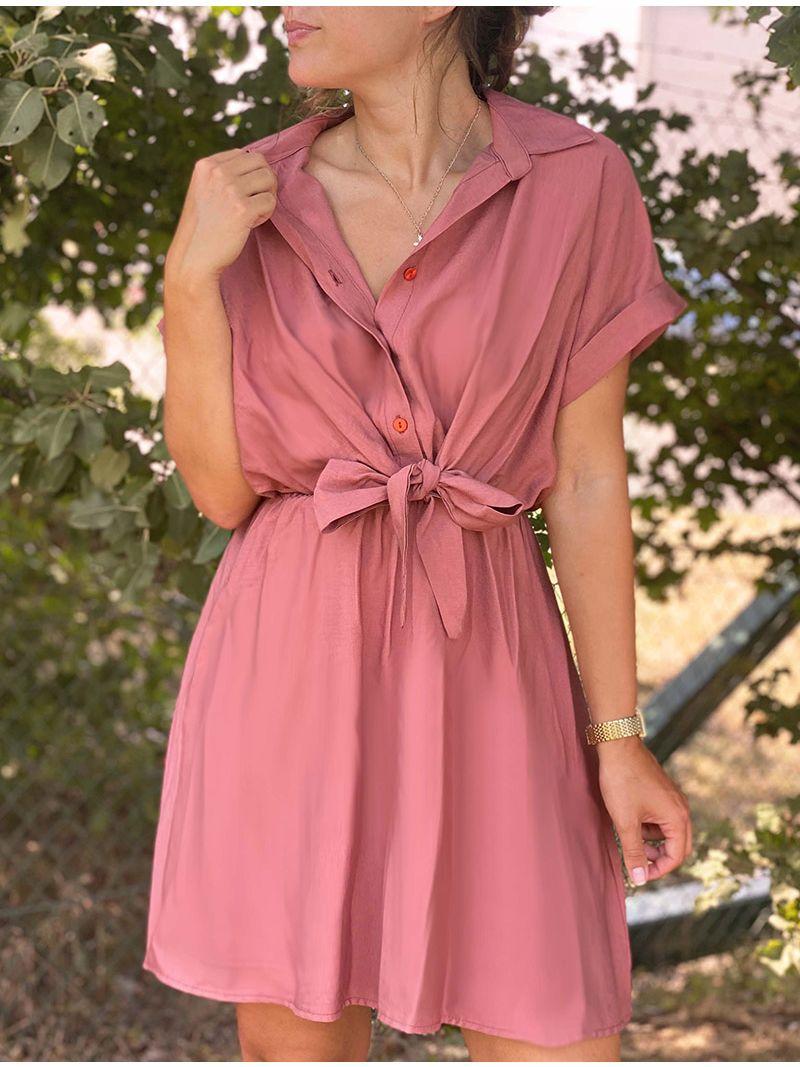 Robe chemise courte cintrée - Rose