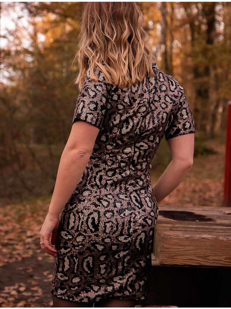 Robe courte à strass - Bronze