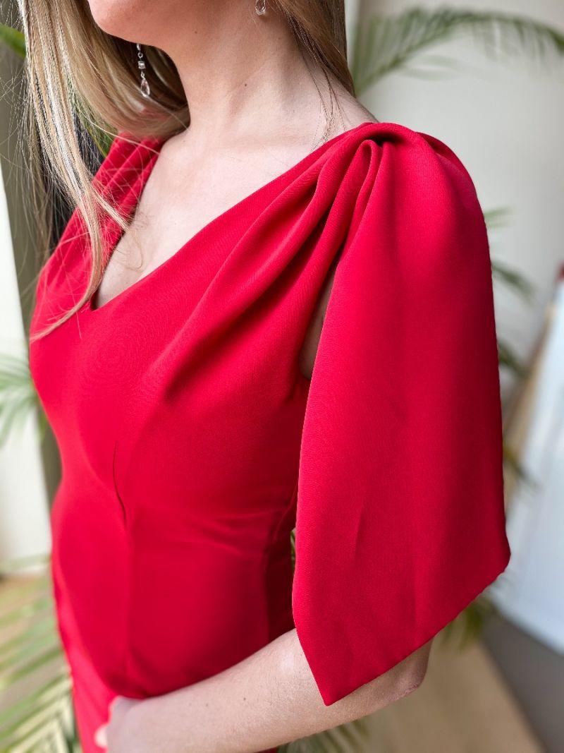 Robe asymétrique épaule couverte - Rouge