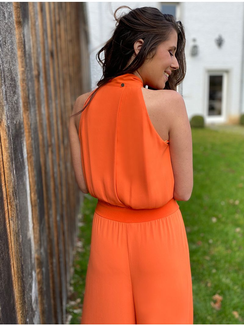 Jumpsuit décolleté plongeant - Orange