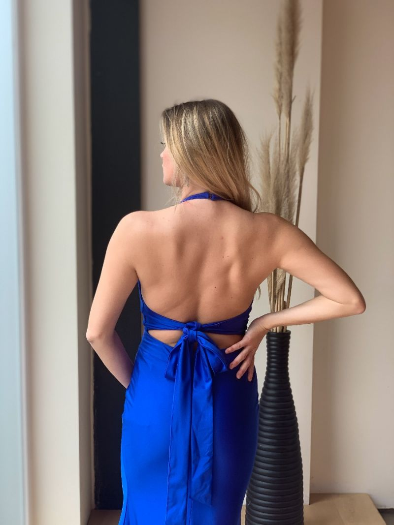 Robe longue satinée dos nu - Bleu roi