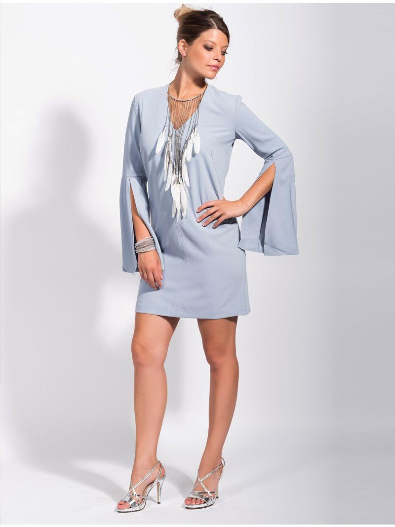 53cff20c56105f Korte jurk met lange mouwen met split