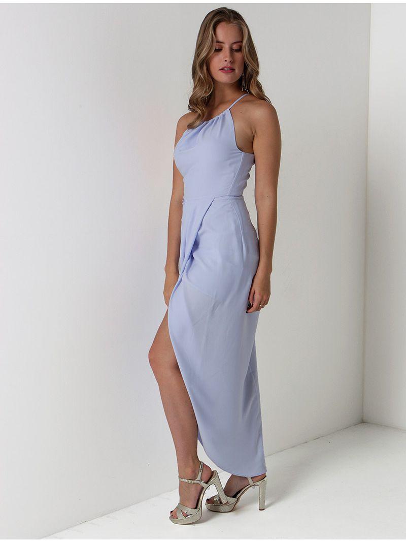 Robe de soirée fendue col américain - bleu clair