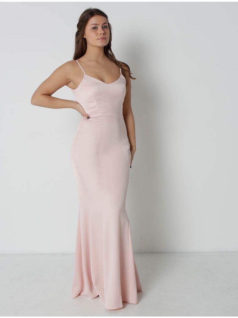 Robe soirée sirène satinée - rose pâle