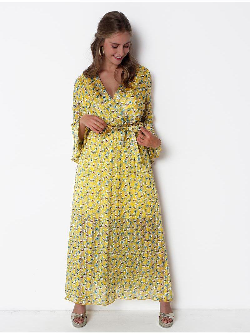 1449cc9368d5d0 Robe longue fleurie manches longues - Jaune