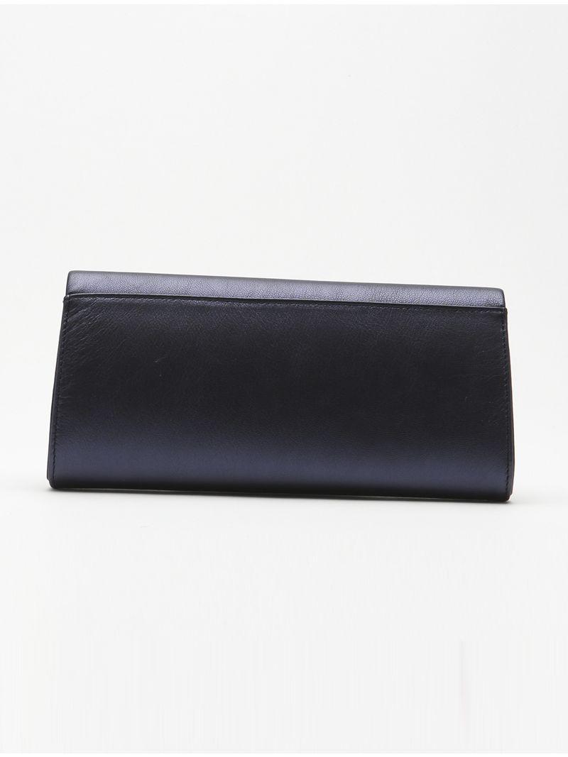 Pochette enveloppe large en cuir aux bords arrondis