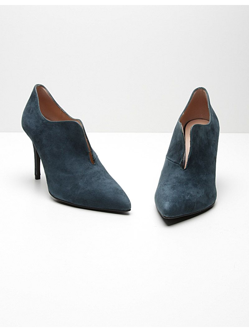 Bottines fendues en daim - bleu
