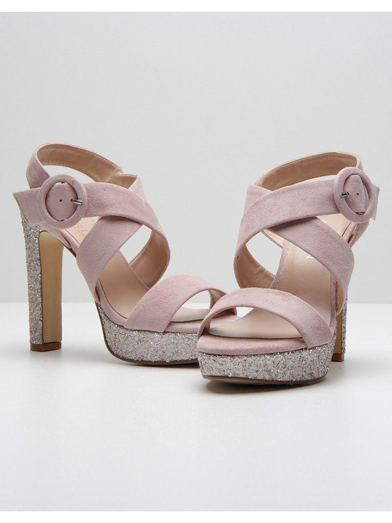 Sandales à talons à paillettes - rose pâle