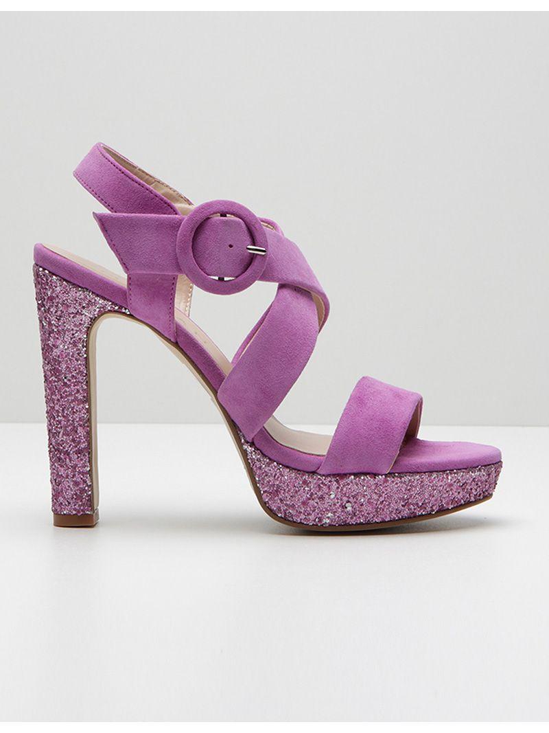 Sandales à talons à paillettes - violet