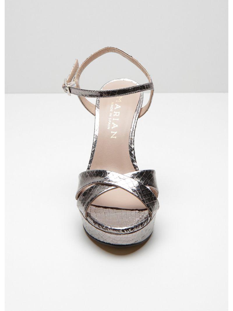 Sandales métallisées à talons - gris