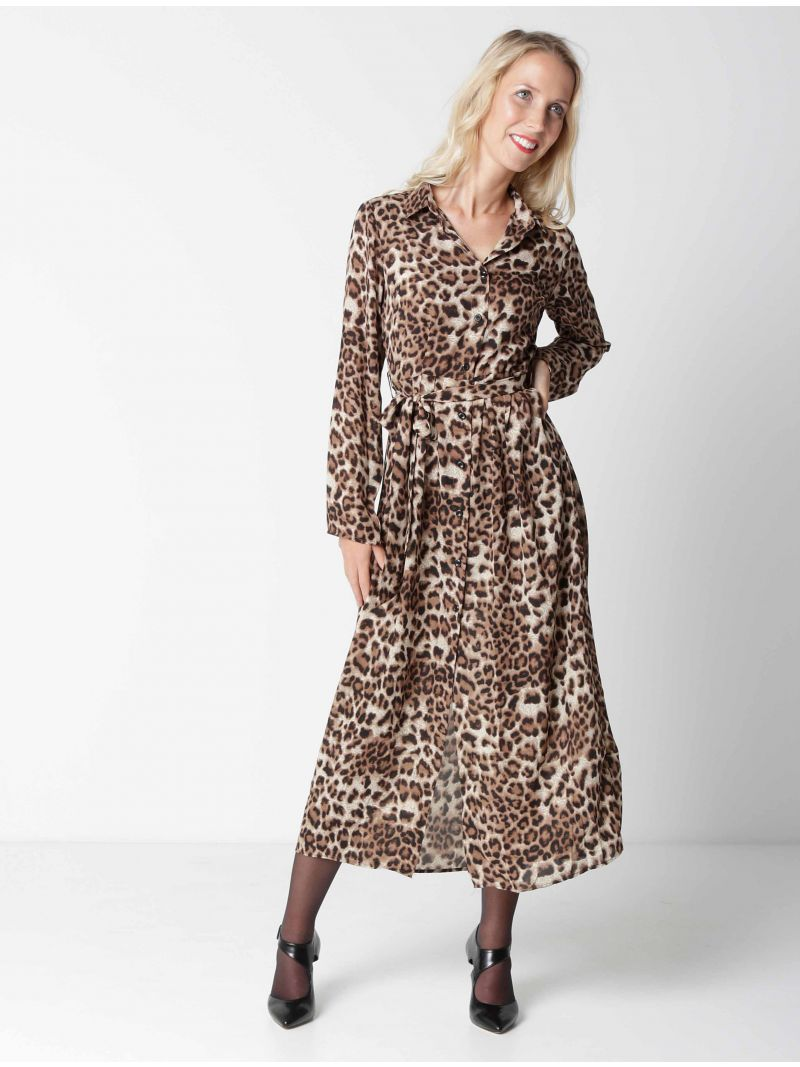 Robe chemise longue léopard