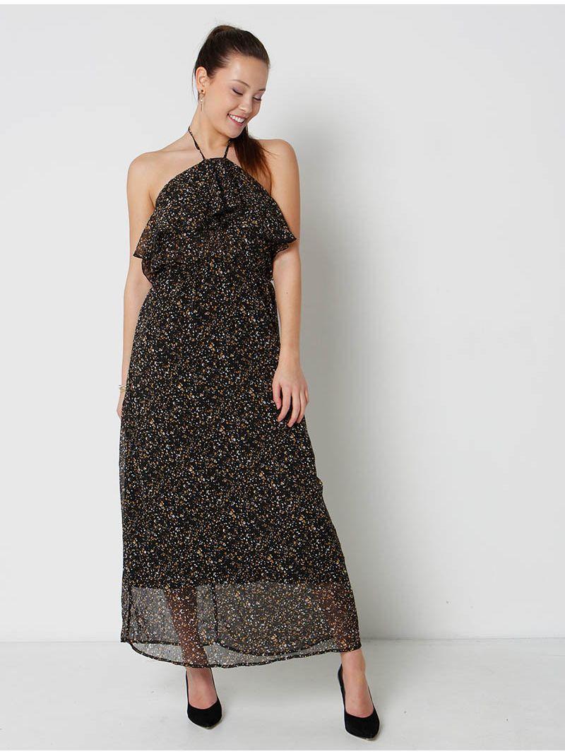 ff319b401c8133 Robe dos nu mi-longue en voile imprimé - noir | Anne Sophie