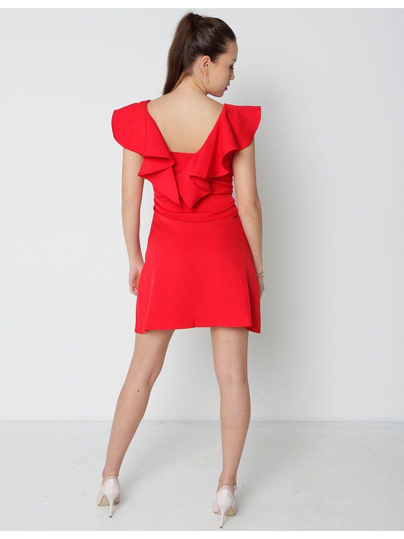 Robe courte à volants - rouge