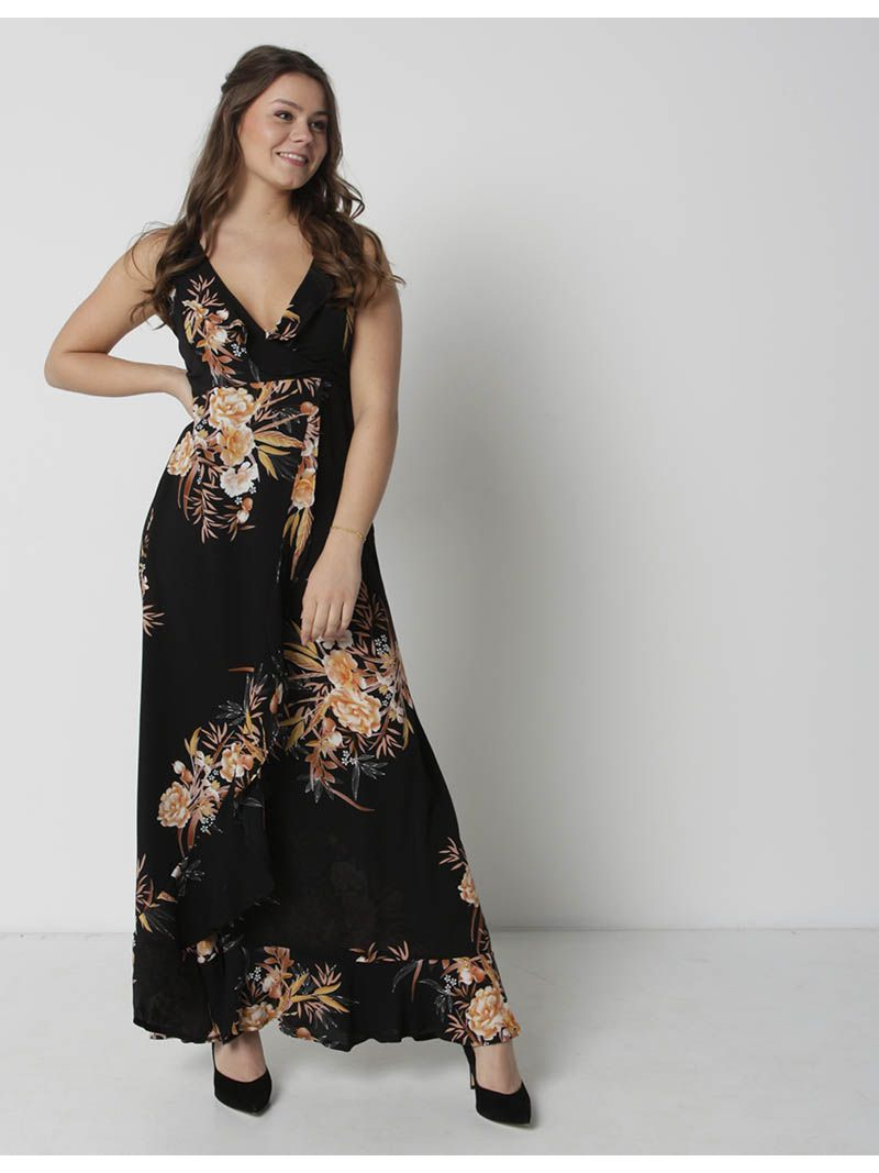 bas prix 9f715 0a0c7 Robe cache-coeur longue fleurie - noir | Anne Sophie