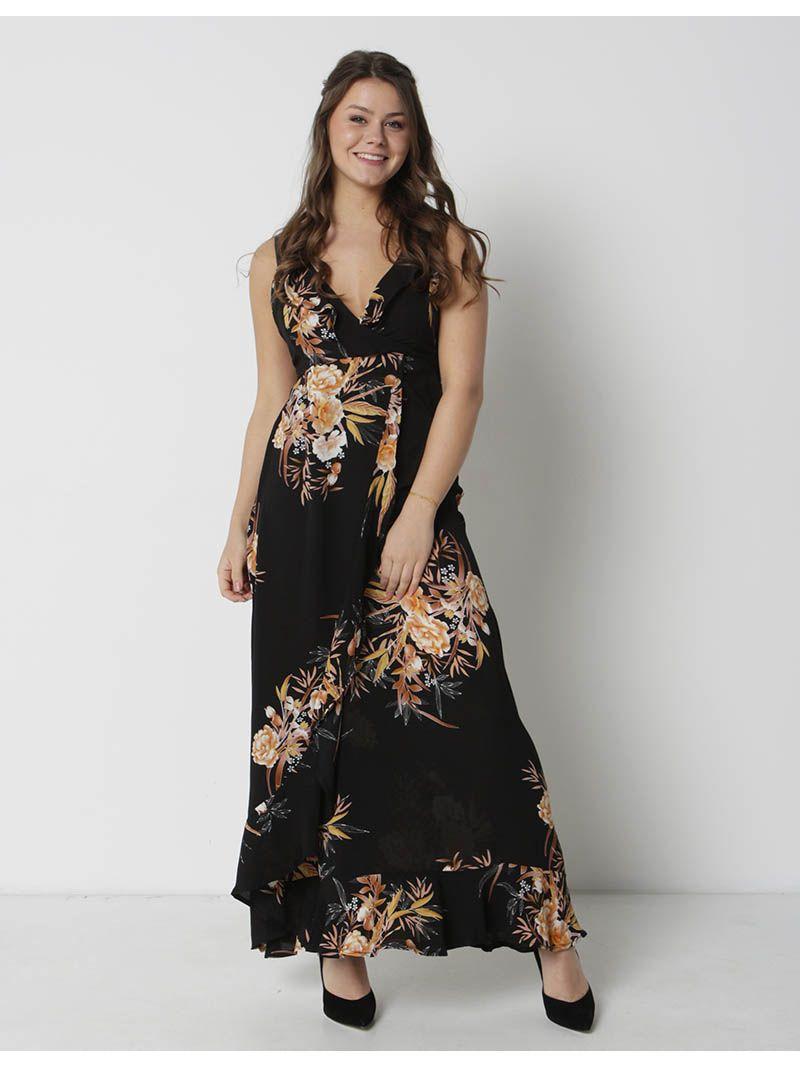 Robe cache-coeur longue fleurie - noir