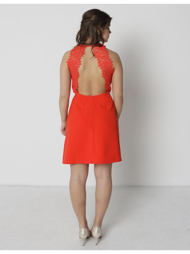 Robe courte avec dos en dentelle - rouge
