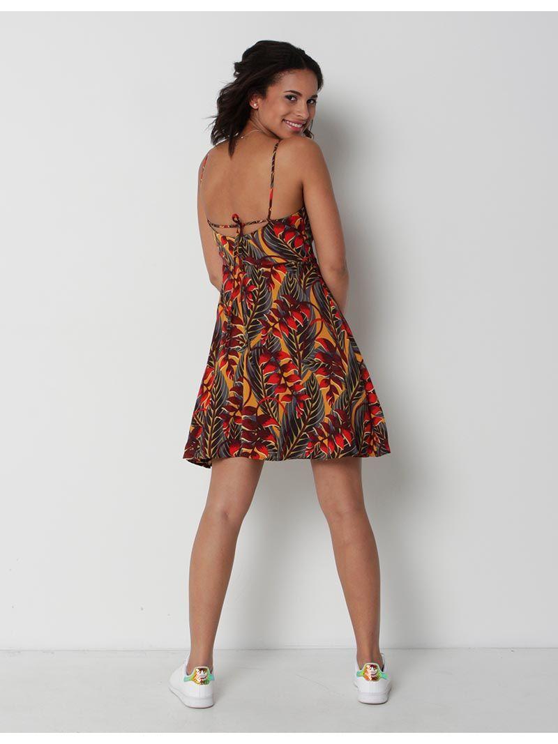 Robe courte tropicale - orange