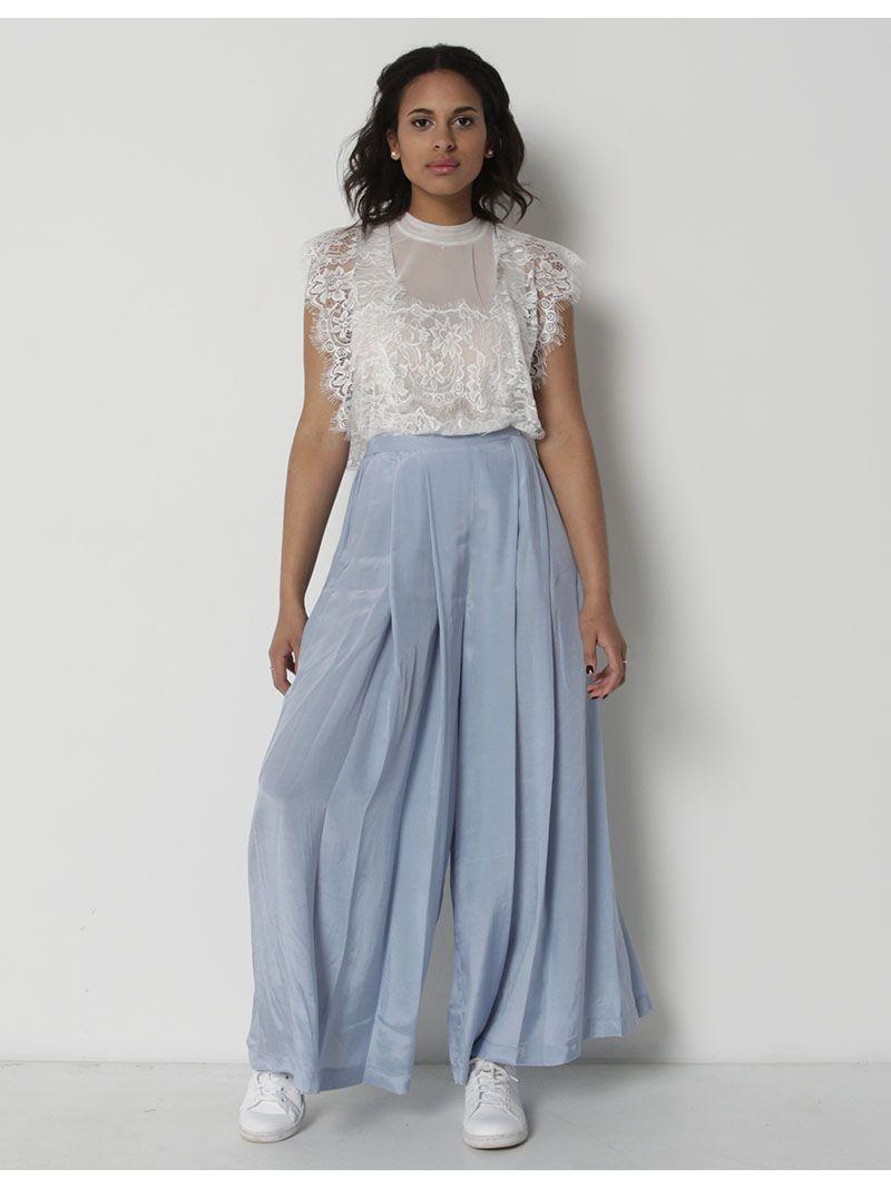 Pantalon ample et fluide - bleu clair