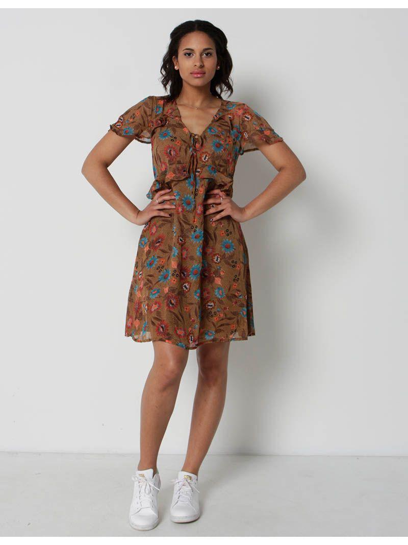 Robe d'été courte à imprimé fleuri - brun
