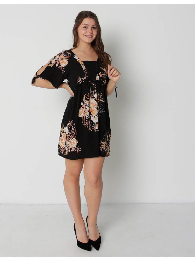 Robe d'été courte à motif fleuri - noir