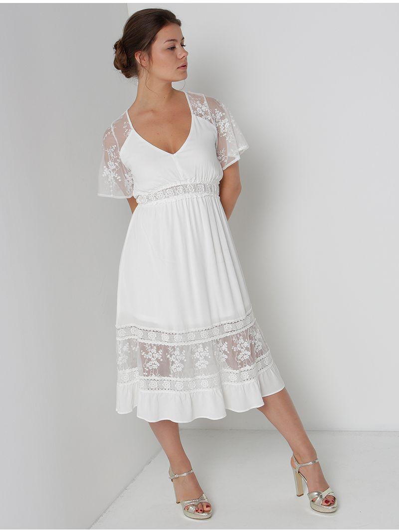 9683afd6e8dfd9 Robe d'été à dentelle - blanc | Anne Sophie
