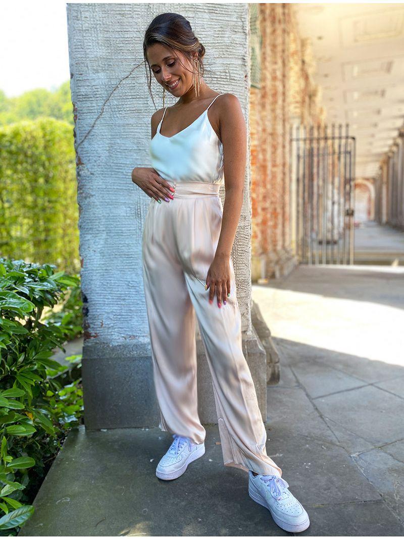 Pantalon taille haute soyeux - Crème