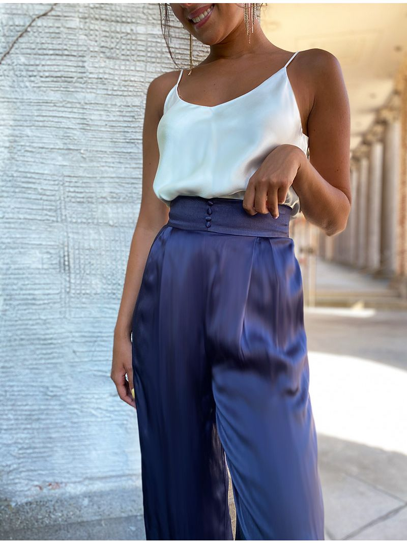 Pantalon taille haute soyeux - Bleu Marine