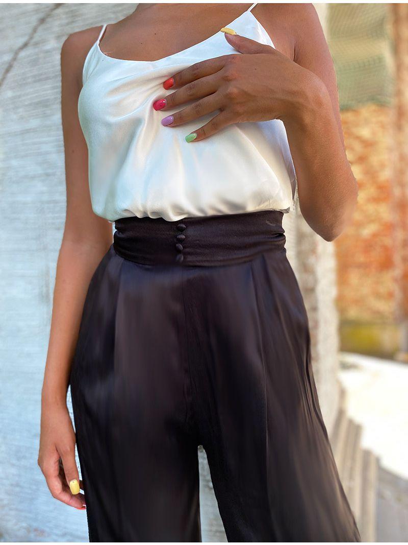 Pantalon taille haute soyeux - Noir