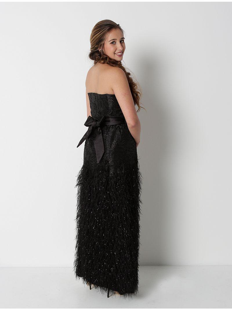 Robe longue bustier et plumes