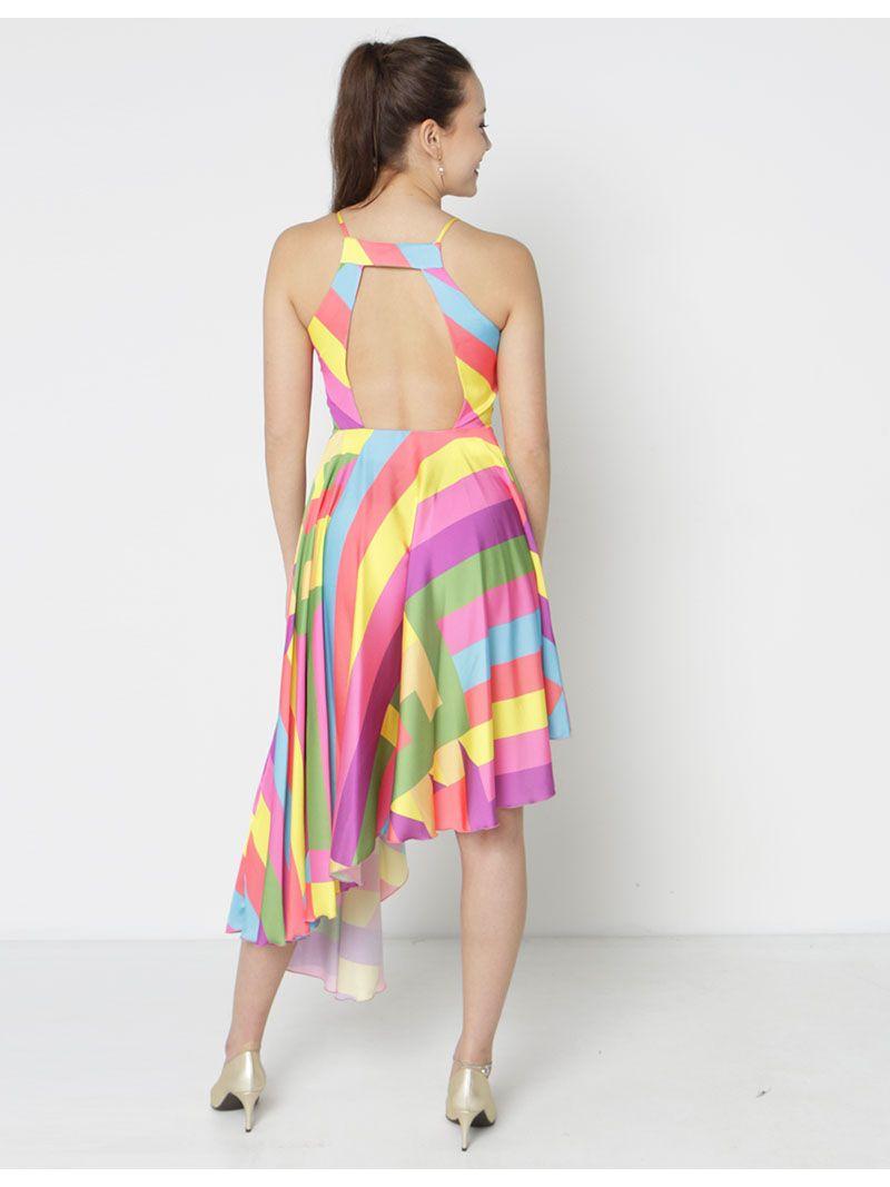 Robe asymétrique arc-en-ciel - multicolore