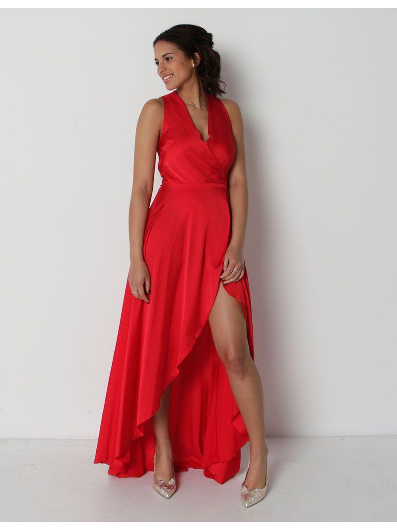 Robe cache-coeur asymétrique - rouge