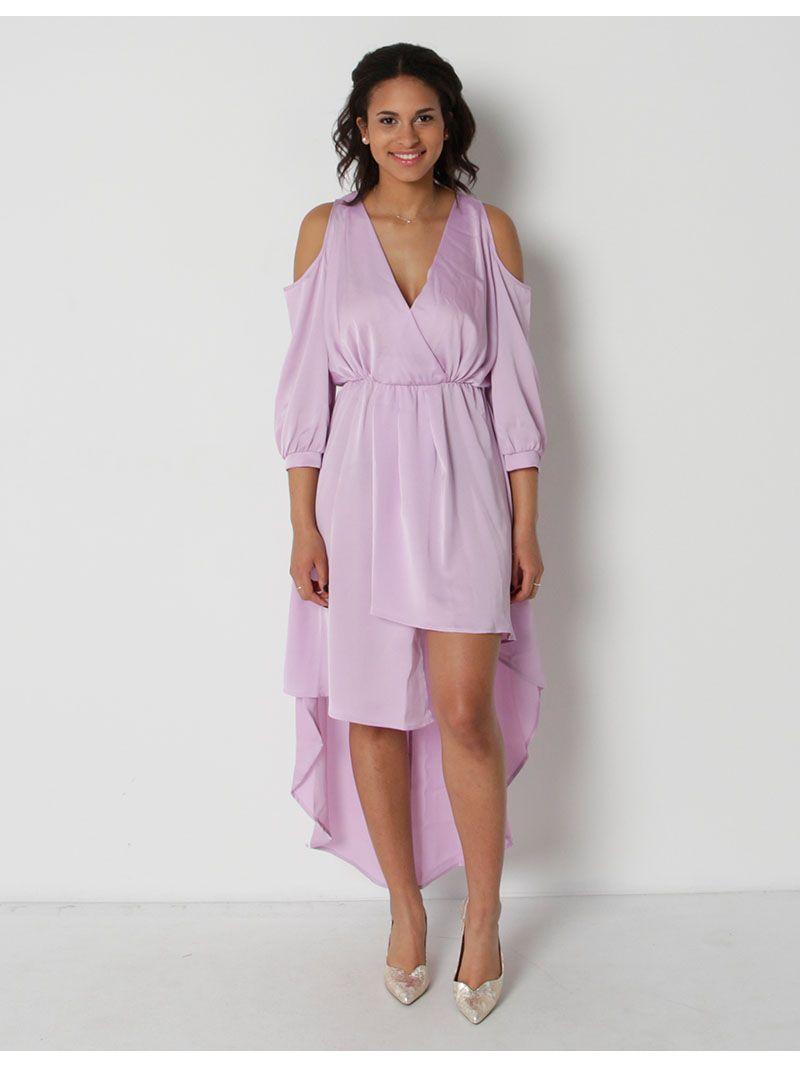 Robe asymétrique manches ¾ - violet