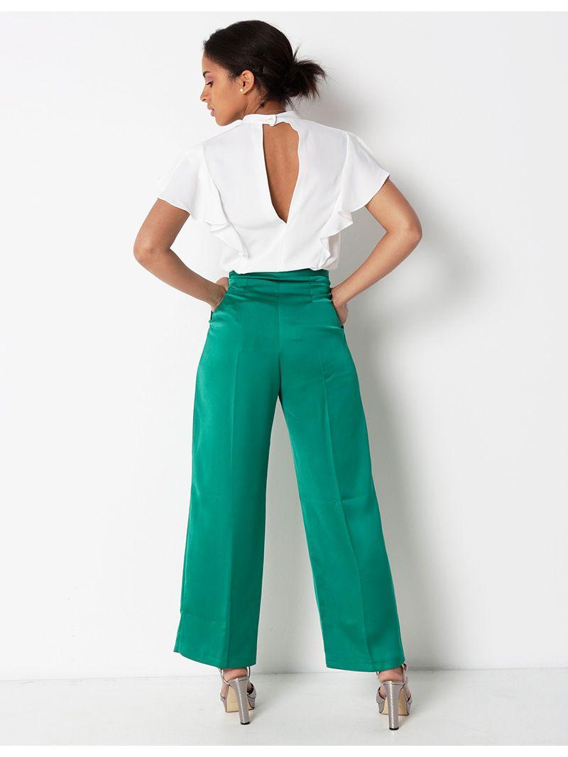 Pantalon satiné fluide - vert