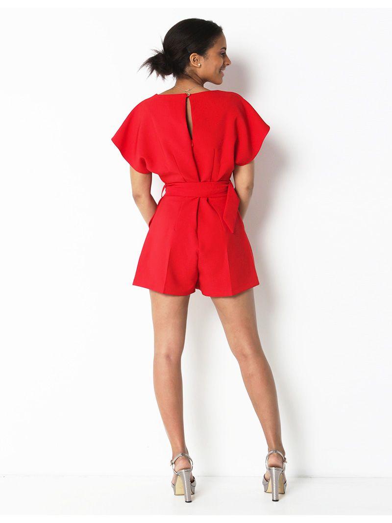 Combi-short avec ceinture - rouge