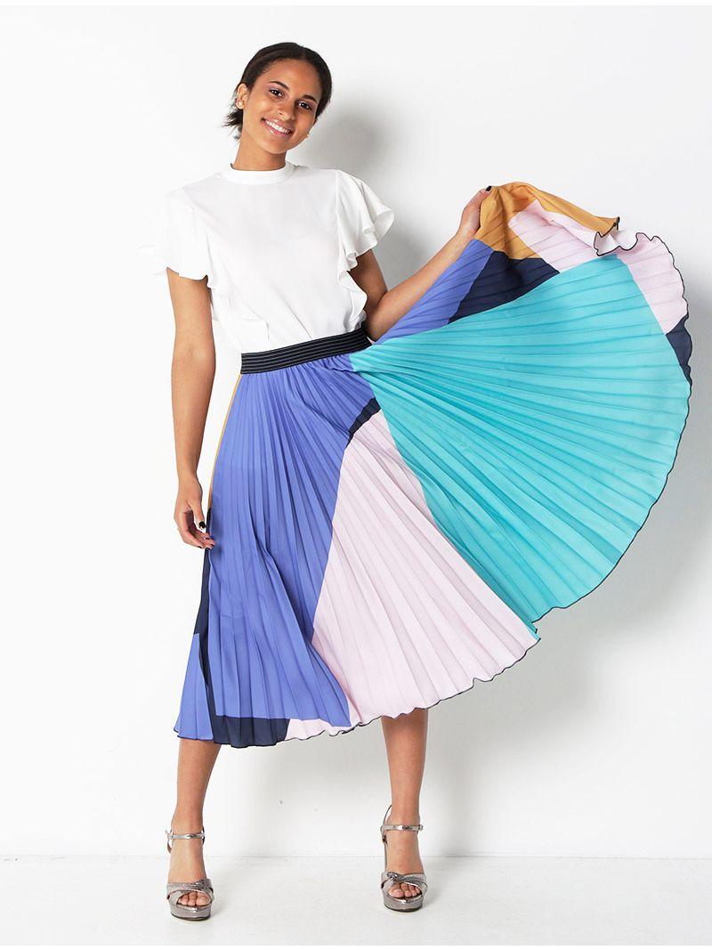 Jupe plissée mi longue - multicolore