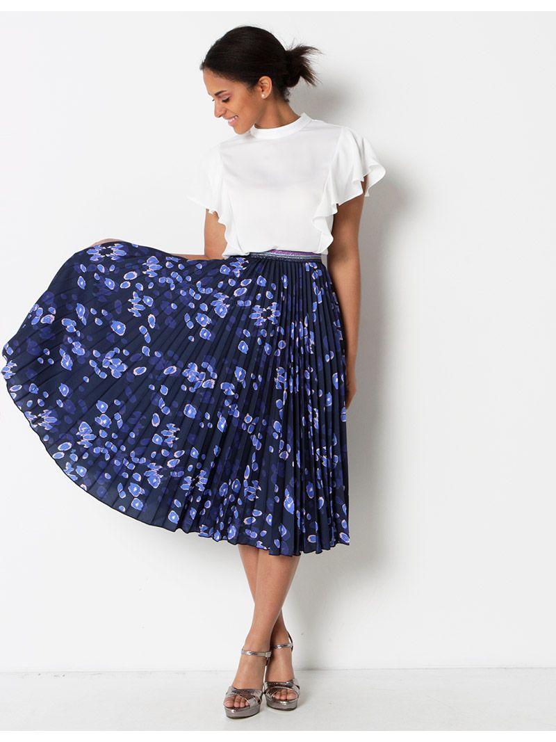 jupe pliss e mi longue motifs bleu marine anne sophie. Black Bedroom Furniture Sets. Home Design Ideas