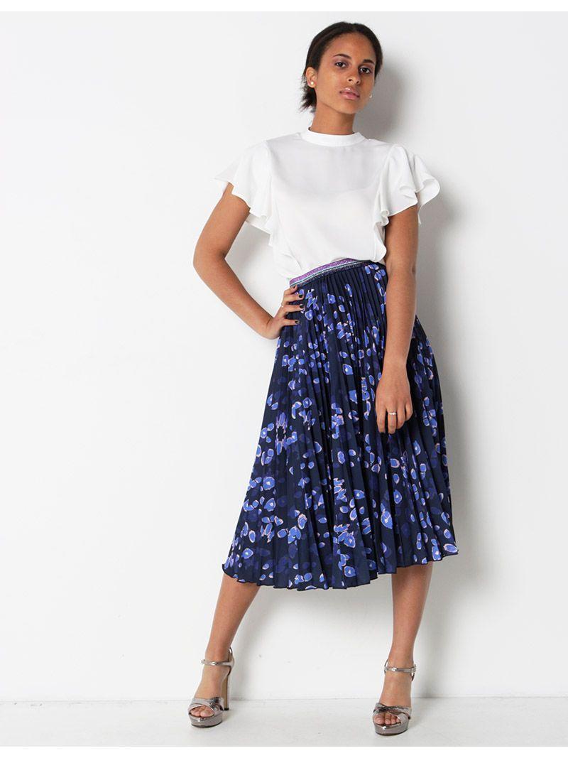 Jupe plissée mi-longue à motifs - bleu marine