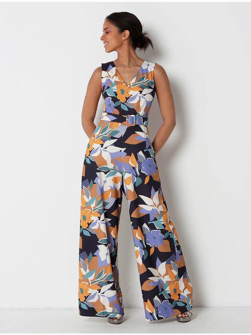 Jumpsuit à imprimé tropical avec ceinture - multicolore